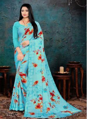 Blue Color Chiffon Floral Print Saree