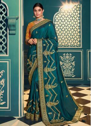 Blue Color Chiffon Resham Work Saree