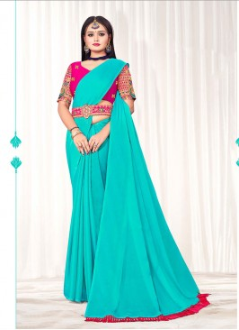 Blue Color Chiffon Saree For Women