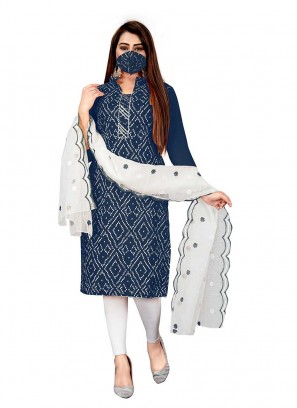 Blue Color Cotton Bandhni Unstitched Suit