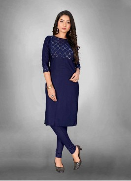 Blue Color Cotton Casual Wear Kurti