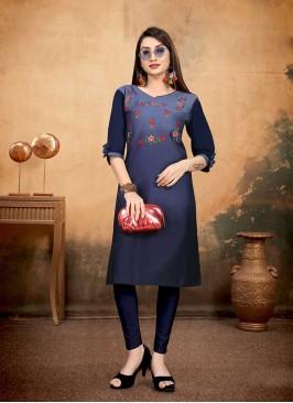 Blue Color Cotton Embroidered Kurti
