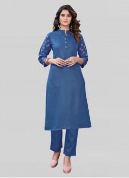 Blue Color Cotton Kurta Set