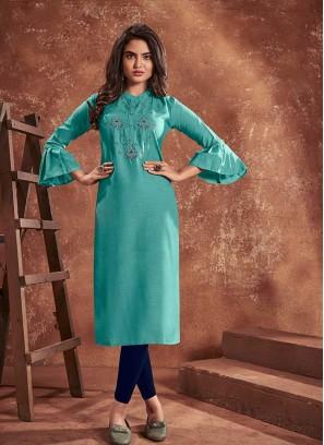 Blue Color Cotton Kurti For Girl