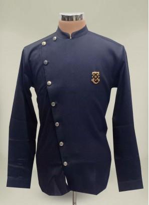Blue Color Cotton Short Kurta