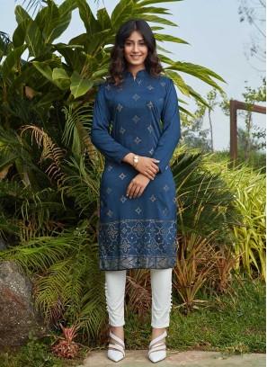 Blue Color Cotton Silk Kurti