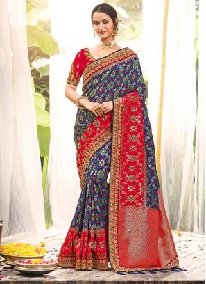 Blue Color Dola Silk Classic Saree