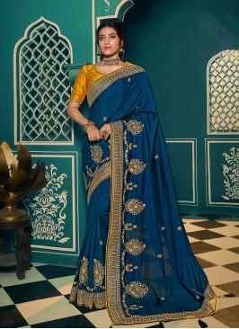 Blue Color Embroidered Chiffon Saree