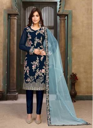 Blue Color Embroidered Georgette Salwar Kameez
