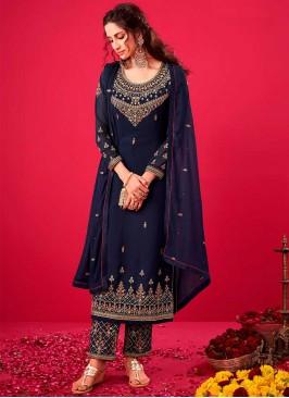 Blue Color Embroidered Pakistani Salwar Kameez
