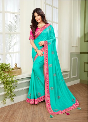 Blue Color Embroidered Saree For Women