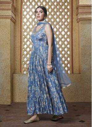 Blue Color Floral Design Suit