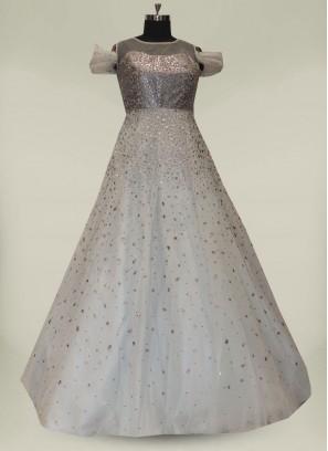 Blue Color Foil Work Net Party Wear Gown