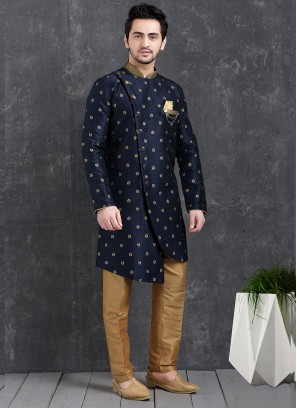 Blue Color Function Wear Indo Western Kurta Pajama