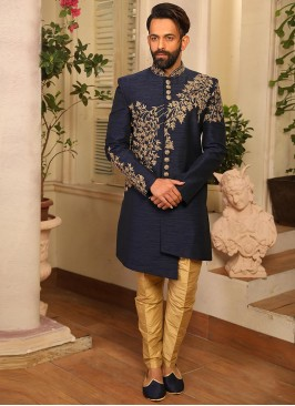 Blue Color Function Wear Indo Western Suit