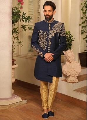Blue Color Function Wear Indo Western Suit