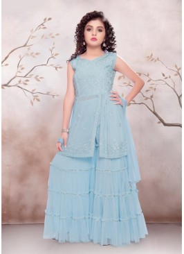 Blue Color Georgette Mirror Work Baby Girl Palazo Set
