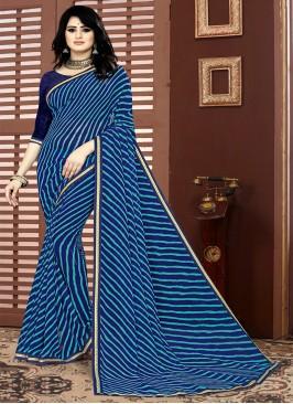 Blue Color Georgette Printed Saree