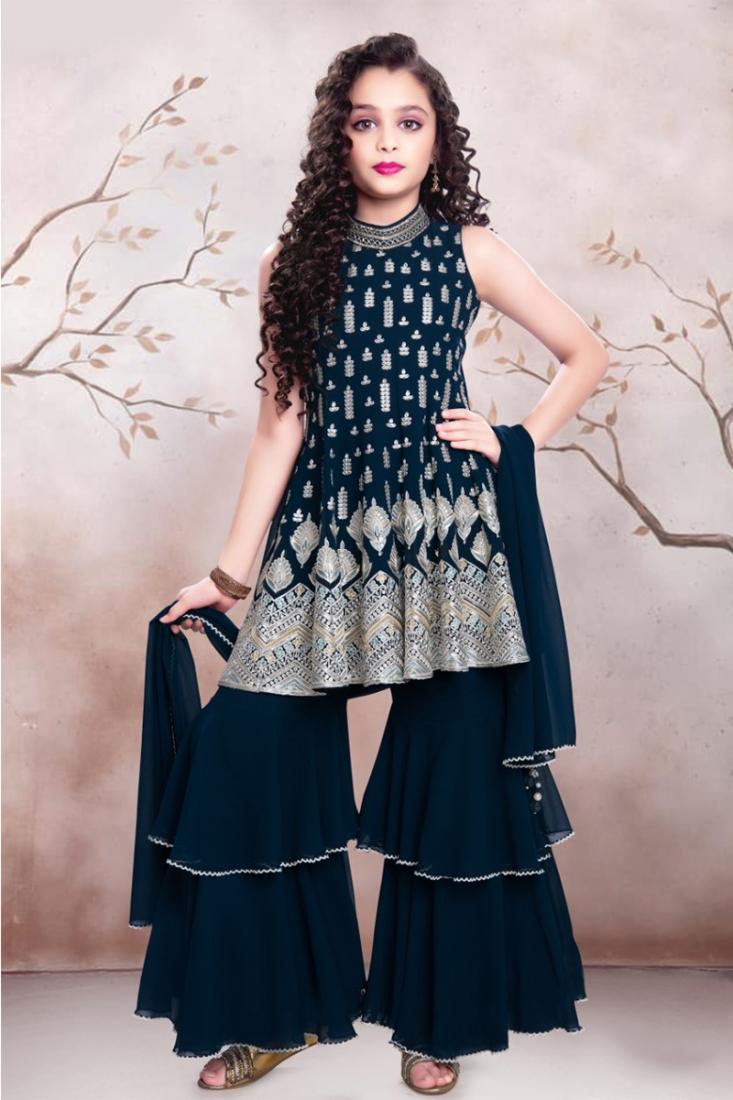 Blue Color Georgette Resham Work Gharara Kids Wear