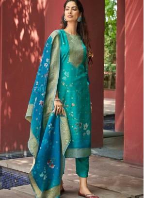 Blue Color Hand Work Ladies Suit