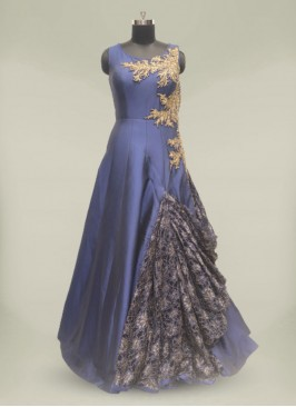 Blue Color Hand Work Silk Reception Gown