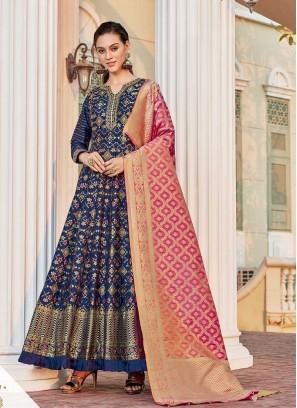 Blue Color Jacquard Long Anarkali Dress