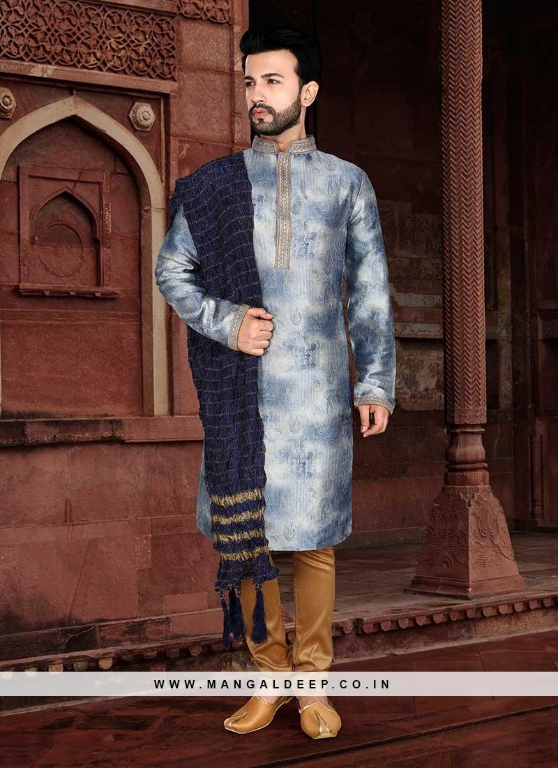 Blue Color Jacquard Mens Kurta Payjama
