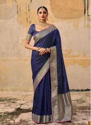Blue Color Jacquard Silk Gorgeous Saree