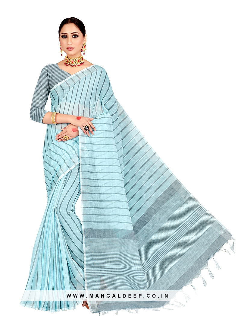 Blue Color Linen Bold Saree