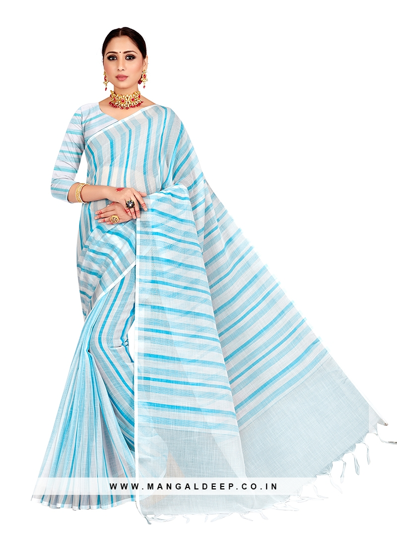 Blue Color Linen Saree For Ladies