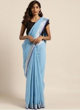 Blue Color Linen Silk Office Wear Saree