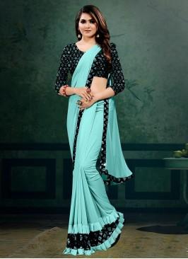 Blue Color Lyrca Dazzling Saree
