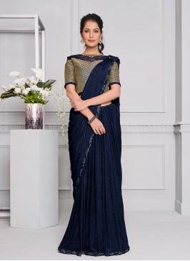 Blue Color Lyrca Designer Saree