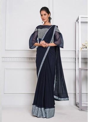 Blue Color Lyrca Net Saree