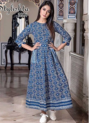 Blue Color Maslin Fancy Gown