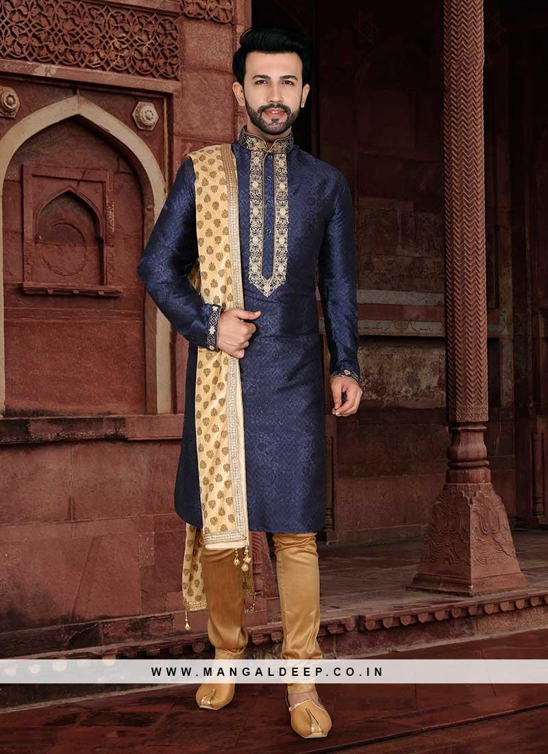 Blue Color Mens Wear Kurta With Payjama