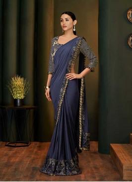 Blue Color Net And Lyrca Saree