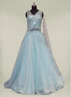 Blue Color Net Bridal Party Dreeses