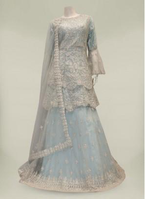 Blue Color Net Diamond Work Designer Gharara Suit