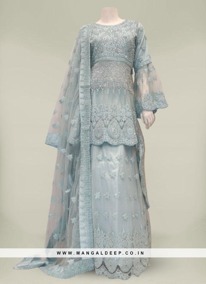 Blue Color Net Diamond Work Gharara Suit