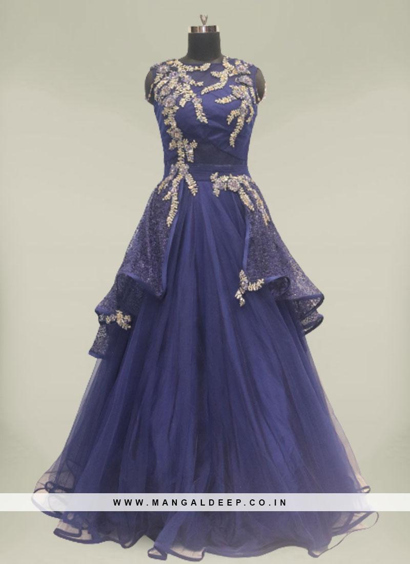 Blue Color Net Sequins Work Simple Gown