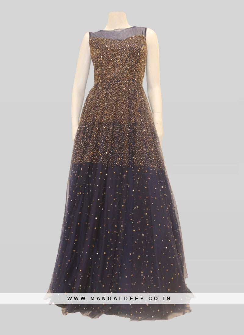 Blue Color Net Stone Work Ladies Gown