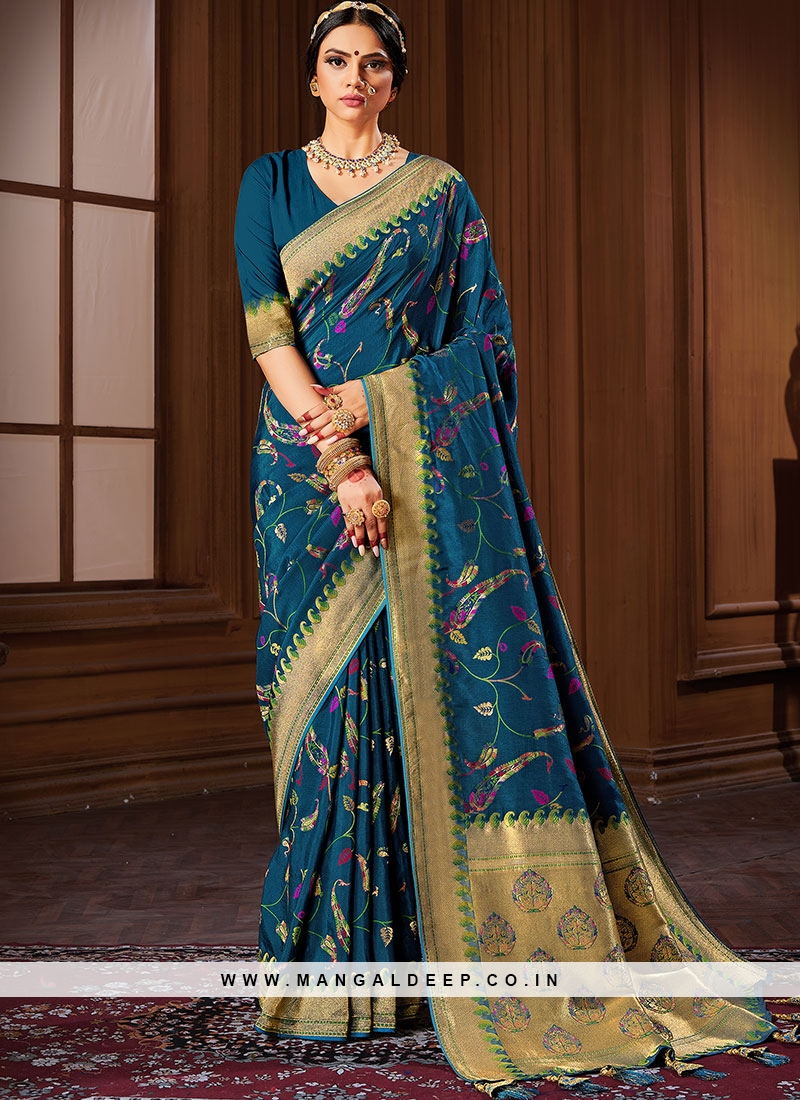 Blue Color New Design Banarasi Silk Saree