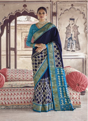 Blue Color Patola Silk Indian Wedding Saree