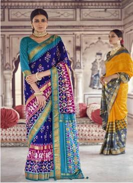 Blue Color Patola Silk Latest Wedding Sarees