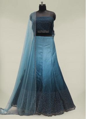 Blue Color Pearls Work Silk Lehenga For Girl