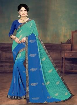 Blue Color Printed Georgette Saree