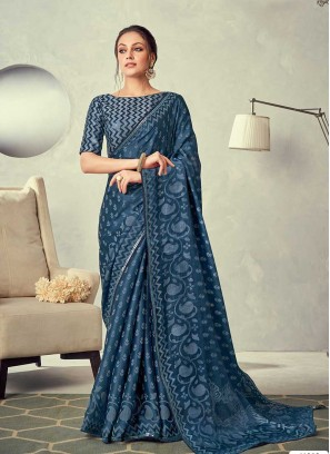 Blue Color Printed Silk Saree