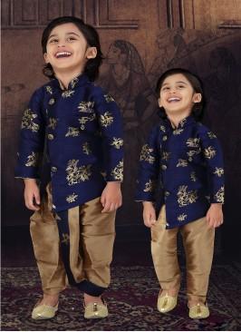 Blue Color Raw Silk Boys Wear