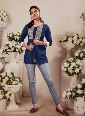 Blue Color Rayon Girls Top